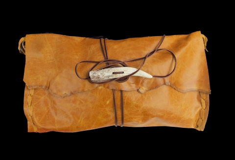 Jenne Rayburn Leather Clutch with Antler Clasp