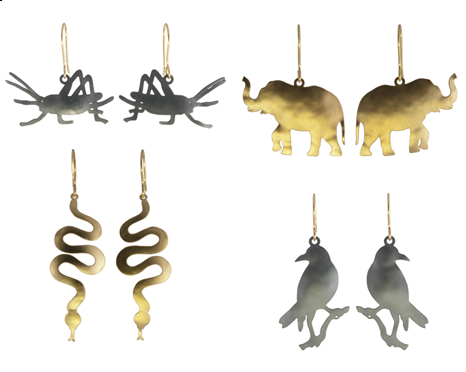 Jenne_Rayburn_Ark_ Animal Jewelry_Grasshopper_Snake_Elephant_Raven