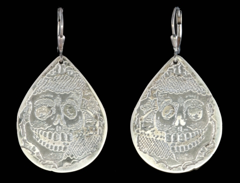 Etched Sterling Silver Teardrop Skull Earrings