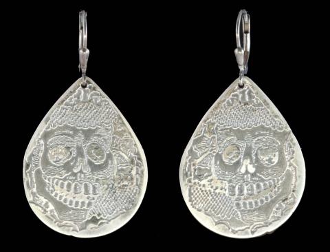Etched Sterling Silver Teardrop Skull Earrings