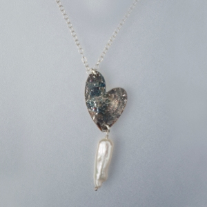 Handcrafted Hammered Sterling Silver Heart Earrings and Pendants, With Freshwater Pearls