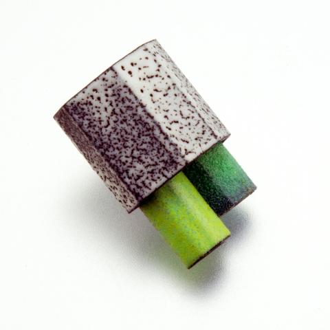 brooch-enamel-columnar-green-jenne rayburn
