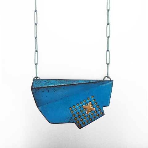 necklace-pendant-gold-blue-enamel-jenne rayburn